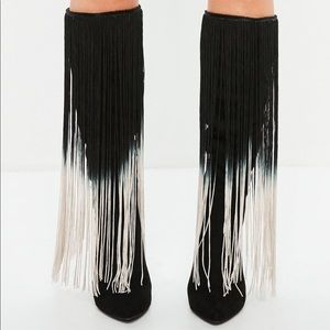 Shoes - Women's black pointed toe fringe boots